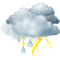 Cielos cubiertos con chubascos tormentosos